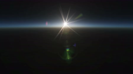 Planet sunrise views in space 4k Wideo