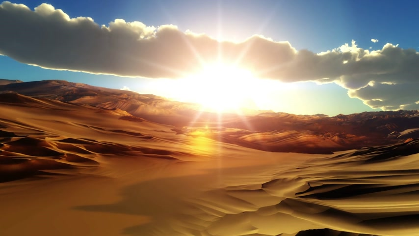 deserto : fly over desert sunset