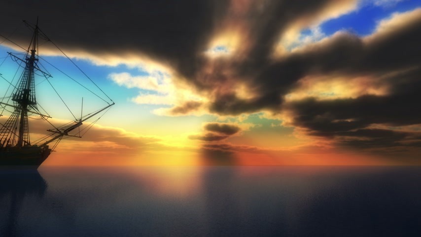 pirat : old ship sunset in sea Wideo