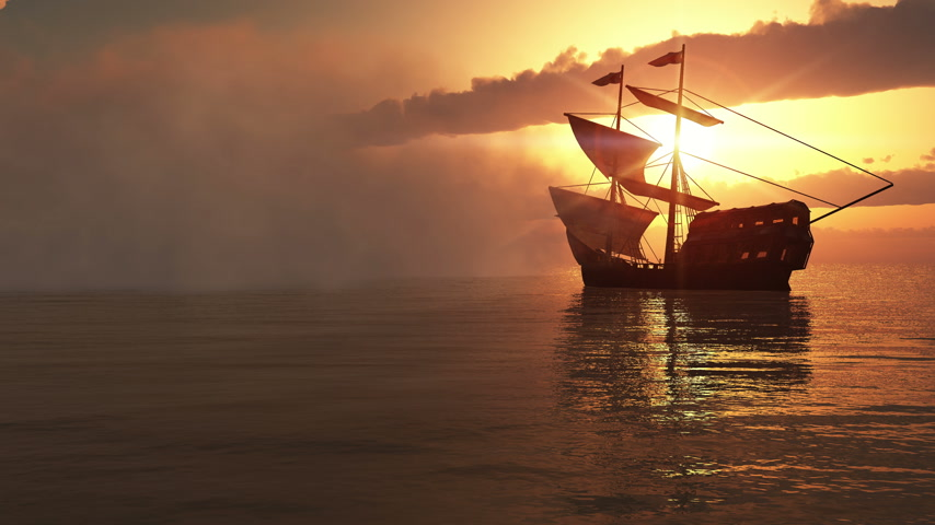nevoeiro : fog and old ship in sunset 4k Vídeos