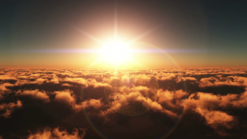 raios solares : fly over clouds in sunset 4k Stock Footage