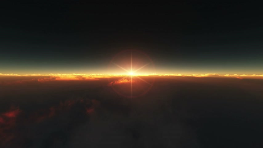 flying above the clouds sunrise