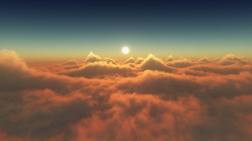 над : sunset above clouds 4k