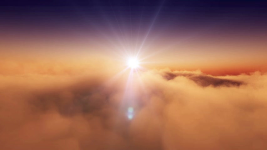 sunrise light : sunset above clouds Stock Footage