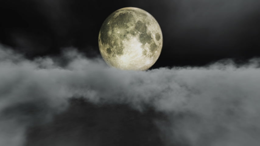 lunar : moon above clouds Stock Footage