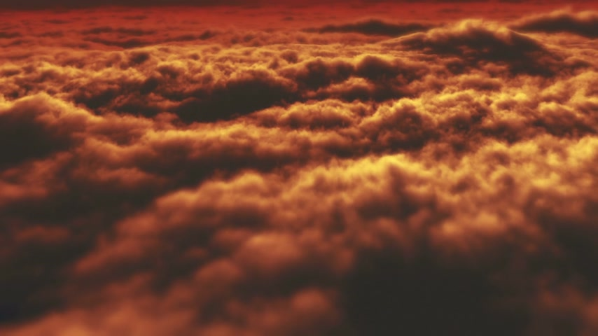 fluffy cloudy : above over clouds sunset Stock Footage