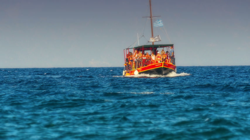 small vessels : Touristic small ship in sea 4k Stock Footage