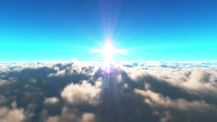 heaven : fly above clouds sunset 4k