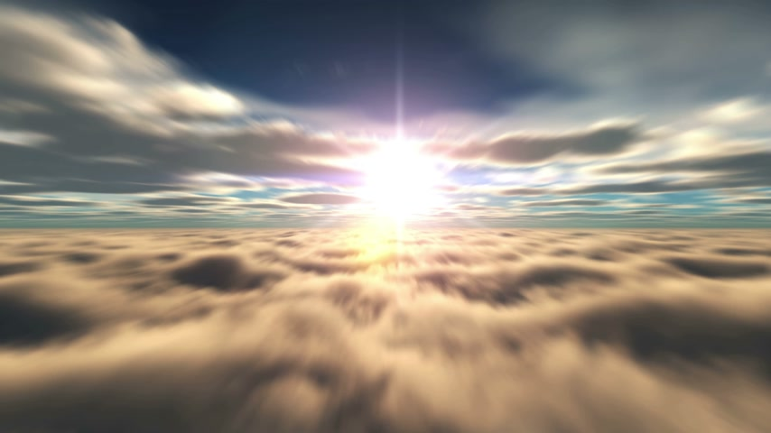 celestial : fly in above clouds 4k