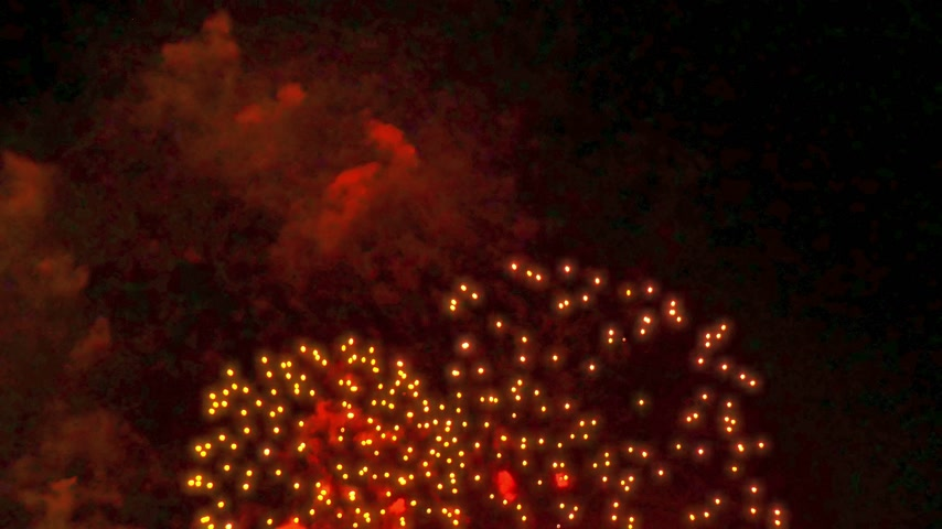 water display : Colorful fireworks display at holiday night 4k Stock Footage