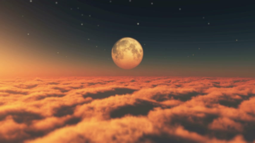 bulutluluk : fly in clouds sunset moon 4k Stok Video