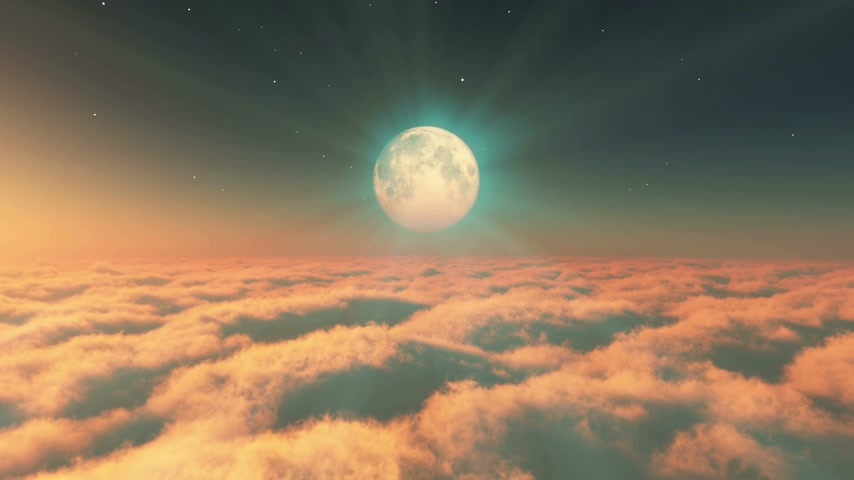 sztratoszféra : fly in clouds sunset moon 4k Stock mozgókép