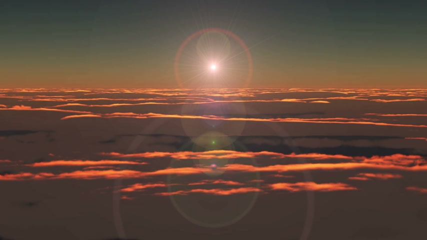 спокойный : Flying above clouds sunrise hd