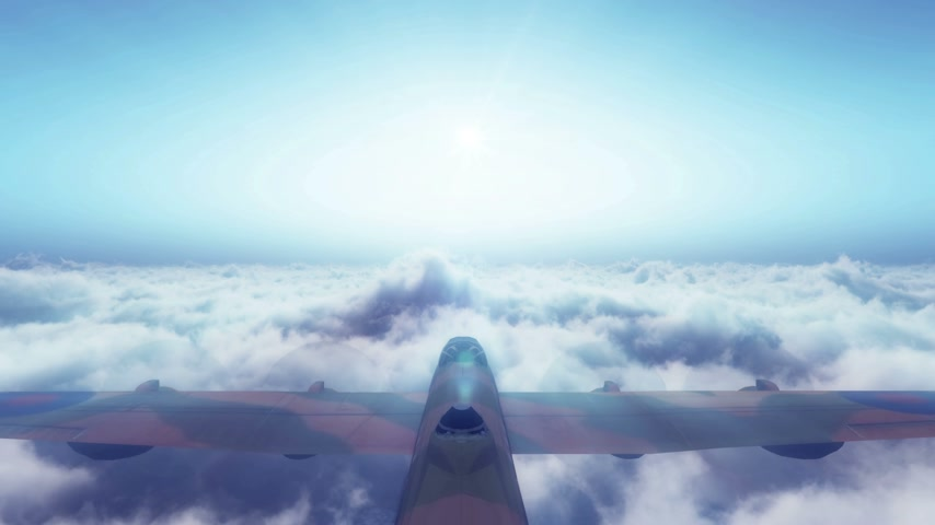 sztratoszféra : old air plane fly above clouds 4k Stock mozgókép