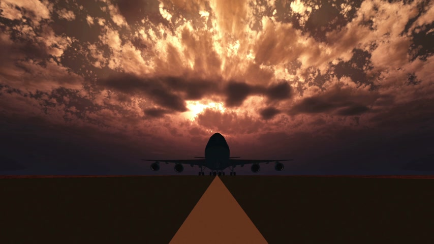 ranvej : airplane landing on the runway sunset 3d