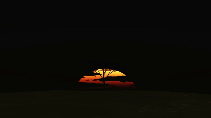 panter : big sun sunrise in Africa, time lapse 3d render Stok Video