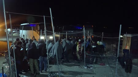 lifesavers : LESVOS, GREECE - NOV 5, 2015: Refugees in queue for the bus to the camp at night. Stock Footage