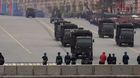 vasilevsky : MOSCOW, RUSSIA - MAY 9, 2017: Military vehicles moving during the Parade on Victory Day on Vasilevsky Descent
