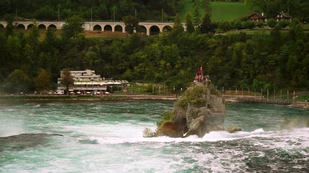 View of the Rhine Falls (Rheinfall) in Switzerland - one of the largest in Europe. Wideo