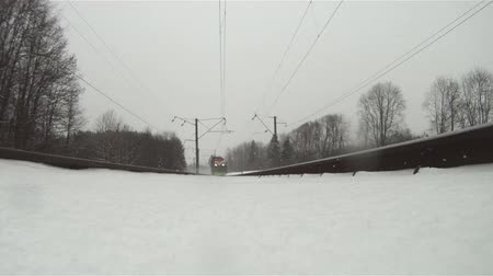 deep snow : train in winter, view from below Stock Footage