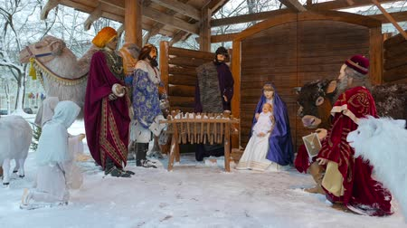 scény : Christmas installation with a newborn Jesus Christ Vilnius, Lithuania