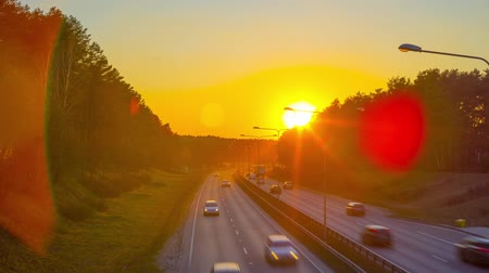 car traffic : Car traffic and sunset, time-lapse