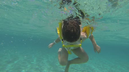 mergulhador : The child snorkeling in the red sea, underwater shooting
