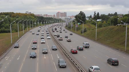 ecosysteem : Car Traffic Jam On The Highway Stockvideo