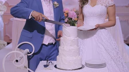 cakes : Cutting Wedding Cake Stock Footage