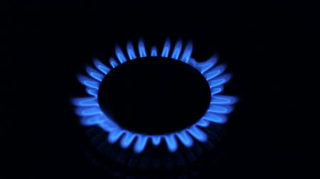 gas : Blue natural Gas Flame, Two Camera angles. Stock Footage