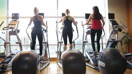 elliptical : A group of girls athletes in the gym. Exercises on the ellipsoid.