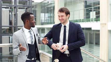 afro americana : Two multiethnic male employees consulting in office. Stock Footage