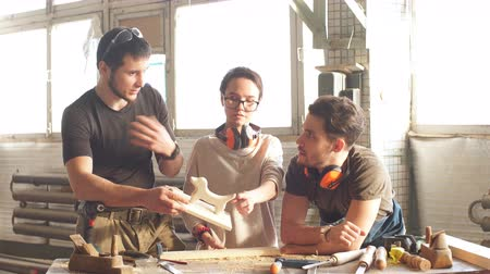 chisel : Group of Students in Woodwork Training Course.