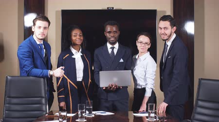 Group of Business Team Standing in Meeting Rom and Looking at Camera. Stock Footage