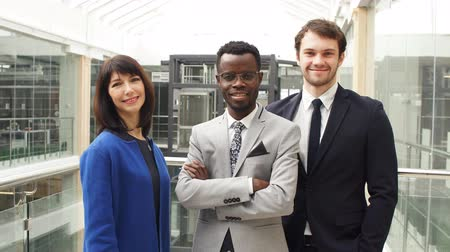 Portrait of tree successful businesspeople, business team posing in modern office. Stock Footage