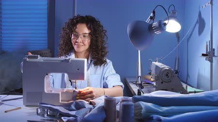 Sewing Machine and Dressmaker in Working Process. Sewing Business. Needlework Stock Footage