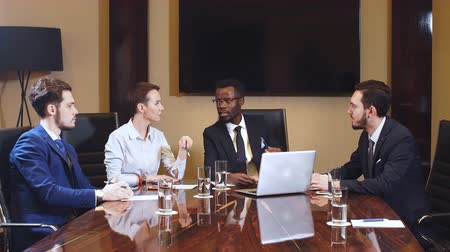 Corporate Business Team and Manager in a Meeting.