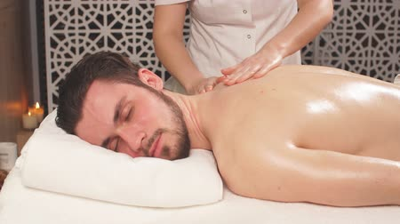 třít : treatment massage for full body. man lead healthy lifestyle