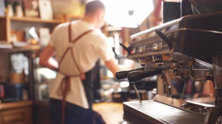 coffee making : Service concept. A barista doing his best Stock Footage