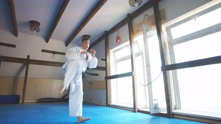 каратэ : Young man training karate, sport and fitness at gym.