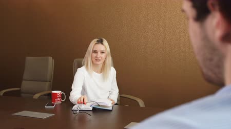 werk zoeken : Beautiful fair-haired businesswoman talking with a client at office, consultation, awesome female boss giving directions to a new colleague. job interview Stockvideo