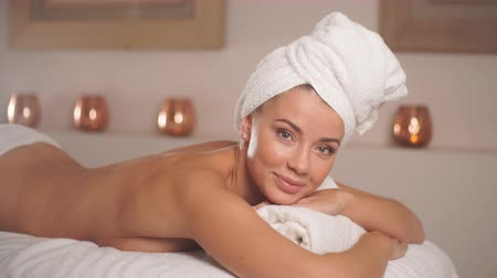 towel : Young beautiful woman preparing for procedure at resorts.