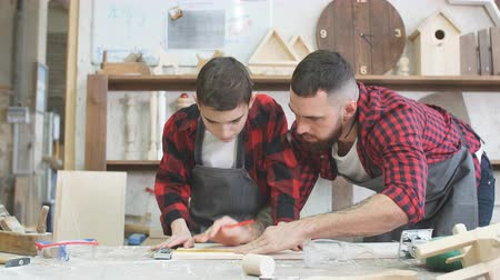 lumber : profession, carpentry, woodwork and family concept - carpentery masterclass for little children and their fathers to share basic knowledge of working with wood.