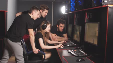 bum : Professional Gamers participating in online cyber games tournament.