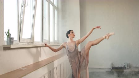 delgado : Ballerina in flying coats flexing her leg, conceptual power balance coordination flexibility. Artistic performance on stage, lifestyle.