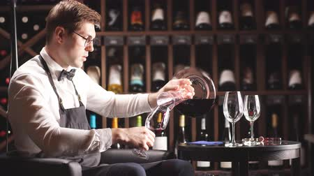 sürahi : Staff training for sommelier experts. All that is needed is wine etiquette, the rules for buying wine for the customer, decanting and pouring wine into glasses. Stok Video