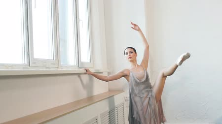 saia : Young ballerina with a perfect body is dancing in the studio. Ballet dancer dressed in scenic dress, colorful costume emphasizes the plasticity of their movements.