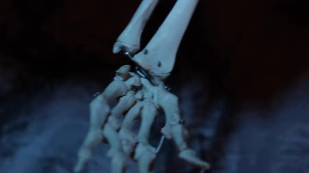 assombro : Close up of artificial skeleton arm in the dark blue cave