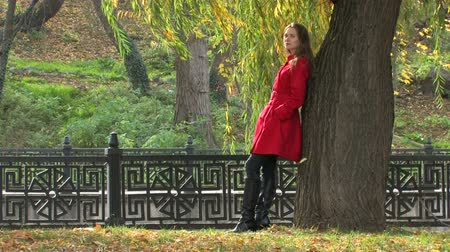 feminity : Young woman in Autumn Park, standing near tree, Canon XH A1, 1080p, 25fps, progressive scan