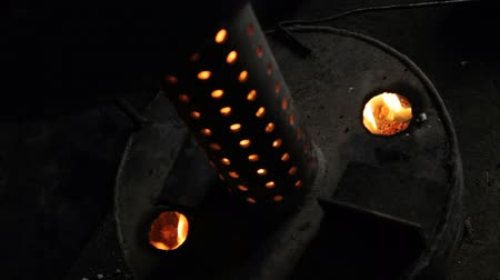 self made : Waste oil burning inside self-made oil heat furnace